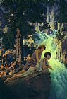 Maxfield Parrish Waterfall painting
