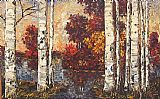 Maya Eventov Famous Paintings - Lakeside Birches