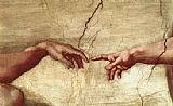 Michelangelo Buonarroti Creation of Adam hand painting