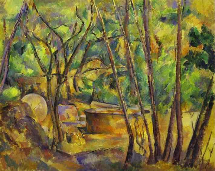 Paul Cezanne Grindstone and Cistern in a Grove