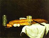 Paul Cezanne Canvas Paintings - Bread and Eggs