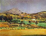Paul Cezanne Famous Paintings - Plain by Mount Sainte-Victoire