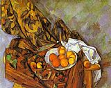 Paul Cezanne Famous Paintings - Still Life with Flower Curtain and Fruit