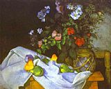 Paul Cezanne Famous Paintings - Still Life with Flowers and Fruit