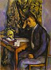 Paul Cezanne Young Man with a Skull painting