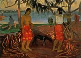 paul gauguin Canvas Paintings - Beneath the Pandanus Tree