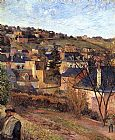 paul gauguin Canvas Paintings - Blue Roofs Rouen