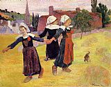 paul gauguin Canvas Paintings - Breton Girls Dancing