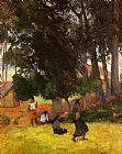 Paul Gauguin Tahitian Village painting