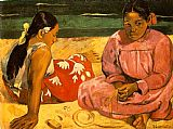 Famous Women Paintings - Tahitian Women On the Beach