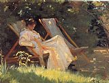 Famous Reading Paintings - Marie en el jardin reading