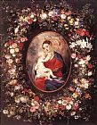 flower Canvas Paintings - The Virgin and Child in a Garland of Flower