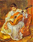 Famous Playing Paintings - A Woman Playing the Guitar