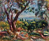 Pierre Auguste Renoir Wall Art - Cagnes Landscape with Woman and Child