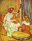 Guitar Canvas Paintings - Guitar Lesson