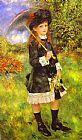 Famous Young Paintings - Young Girl with Parasol (Aline Nunes)