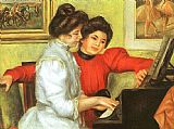 Famous Playing Paintings - Yvonne and Christine Lerolle Playing the Piano