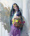 Market Canvas Paintings - FLOWER MARKET GIRL