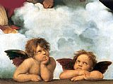 Madonna Canvas Paintings - Sistine Madonna 2 angels