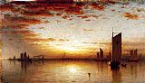 Sanford Robinson Gifford Famous Paintings - A Sunset, Bay of New York
