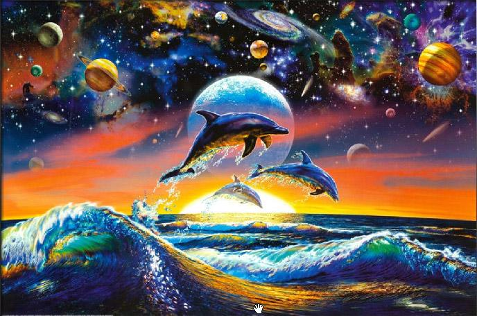 Sea life dolphin universe painting framed paintings for sale for Sea life paintings artists