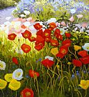 Shirley Novak Shadow Poppies, Sunlit Poppies painting