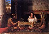 Sir Lawrence Alma-tadema Famous Paintings - Egyptian Chess Players