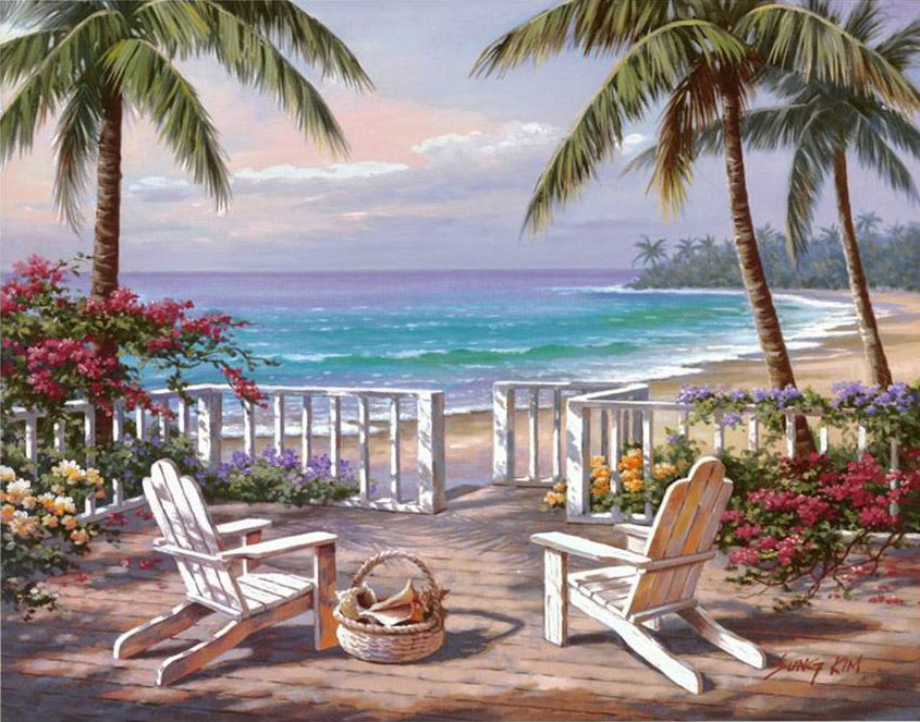 Sung Kim Coastal View Painting Framed Paintings For Sale
