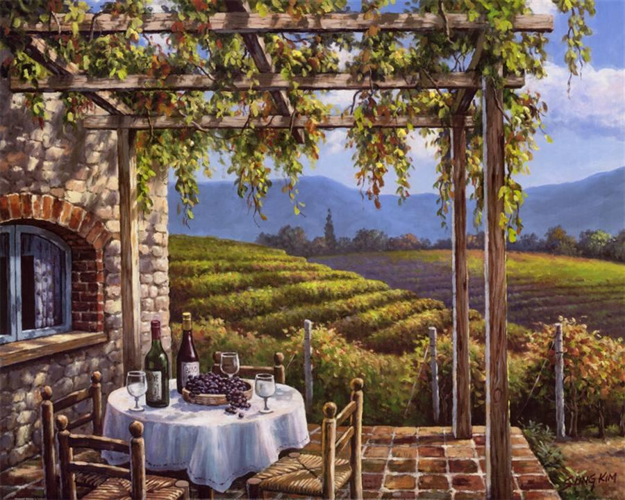 Sung Kim Vineyard Terrace Painting Framed Paintings For Sale