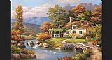 Sung Kim Cottage Stream painting