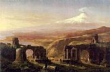 Mount Canvas Paintings - Mount Aetna from Taormina