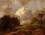 An Extensive Landscape With Cattle And A Drover