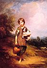 Famous Cottage Paintings - Cottage Girl with Dog and Pitcher