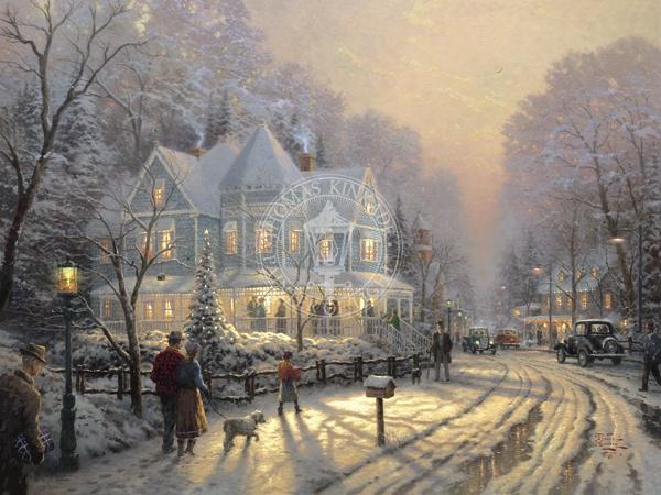 Thomas Kinkade A Holiday Gathering Painting Framed