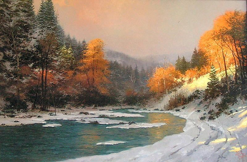 Thomas Kinkade Autumn Snow