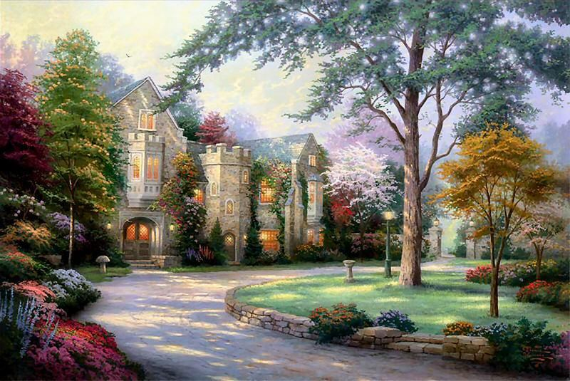 Thomas Kinkade Beyond Summer Gate Painting Framed