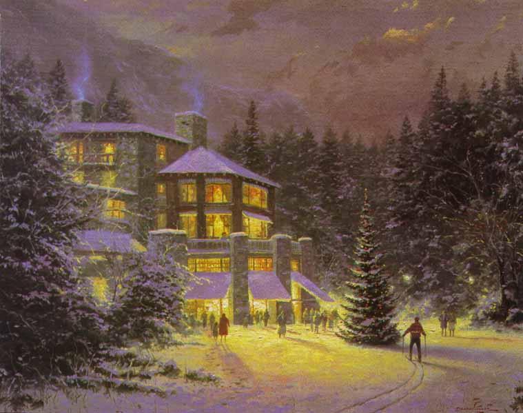 Thomas Kinkade Christmas At The Ahwahnee Painting