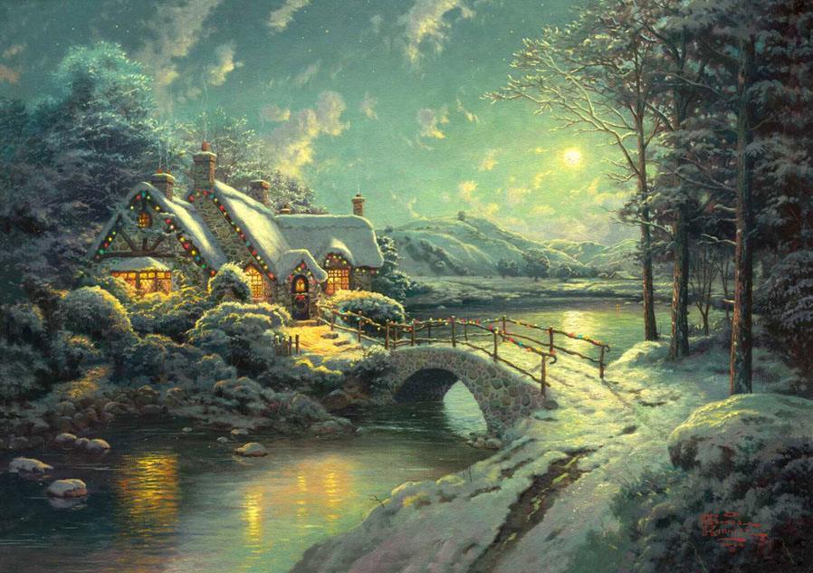 thomas kinkade christmas moonlight painting framed paintings for sale