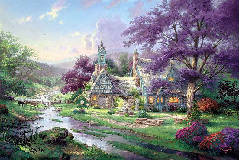 thomas kinkade clocktower cottage painting framed paintings for sale rh framingpainting com