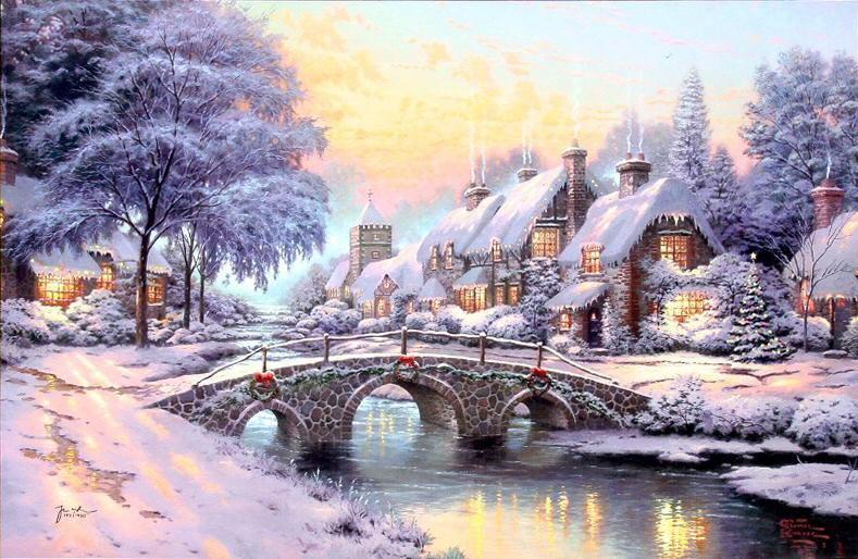 Thomas Kinkade Cobblestone Christmas painting | framed paintings ...