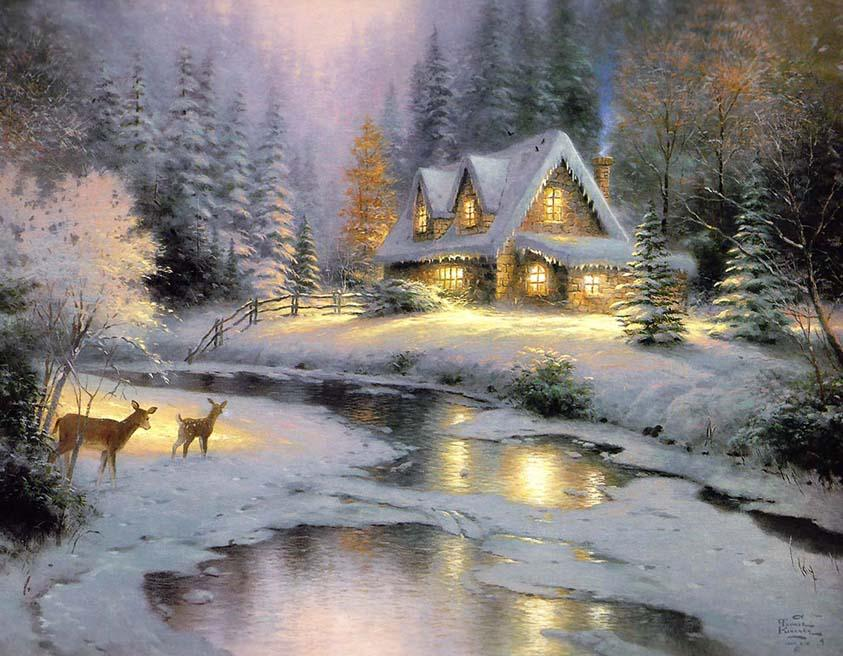 Thomas Kinkade Deer Creek Cottage