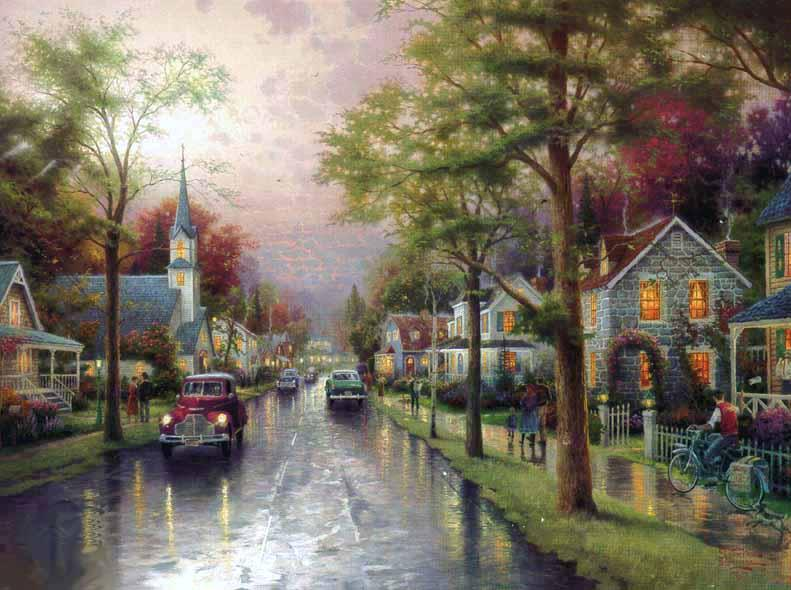 Thomas Kinkade HOMETOWN MORNING