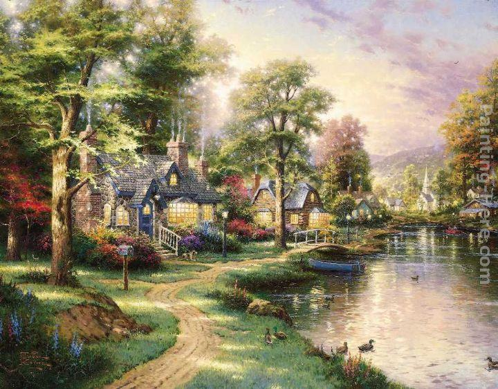 Thomas Kinkade Hometown Lake painting | framed paintings for sale