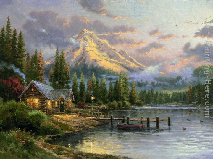 Thomas Kinkade Lakeside Hideaway Painting Framed