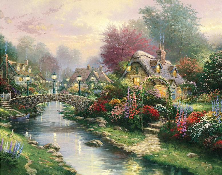 Thomas Kinkade Lamplight bridge