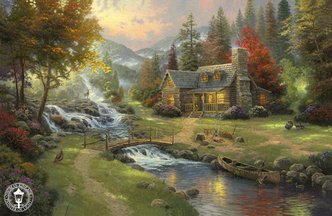 Thomas kinkade mountain paradise painting framed for Paintings for sale online
