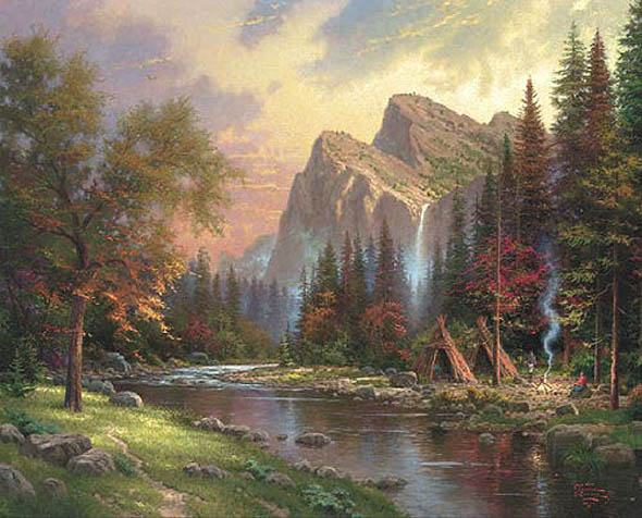 Thomas Kinkade Mountains Declare his Glory