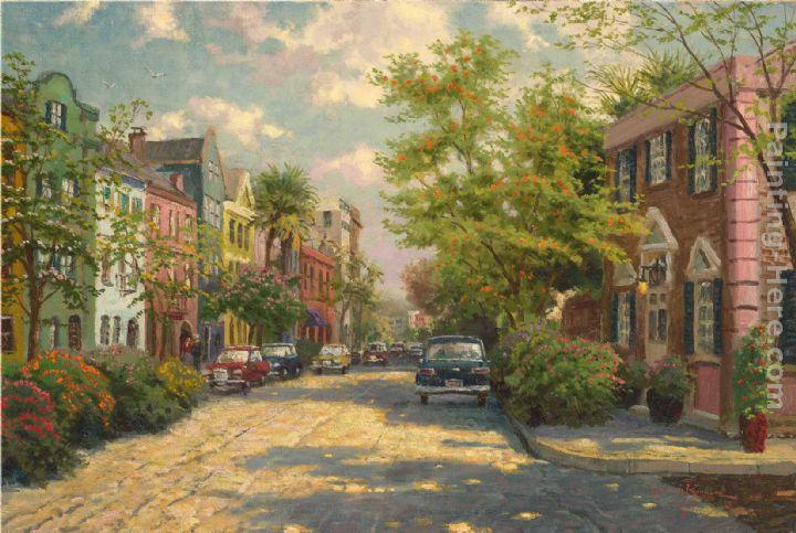 Thomas Kinkade Rainbow Row,Charleston