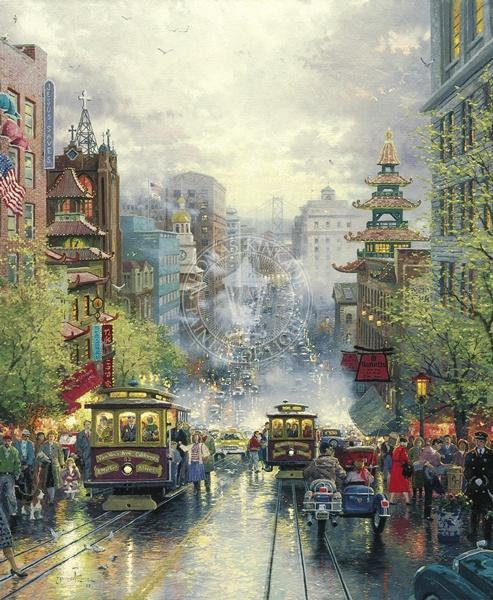 Thomas Kinkade San Francisco A View Down California Street From Nob Hill
