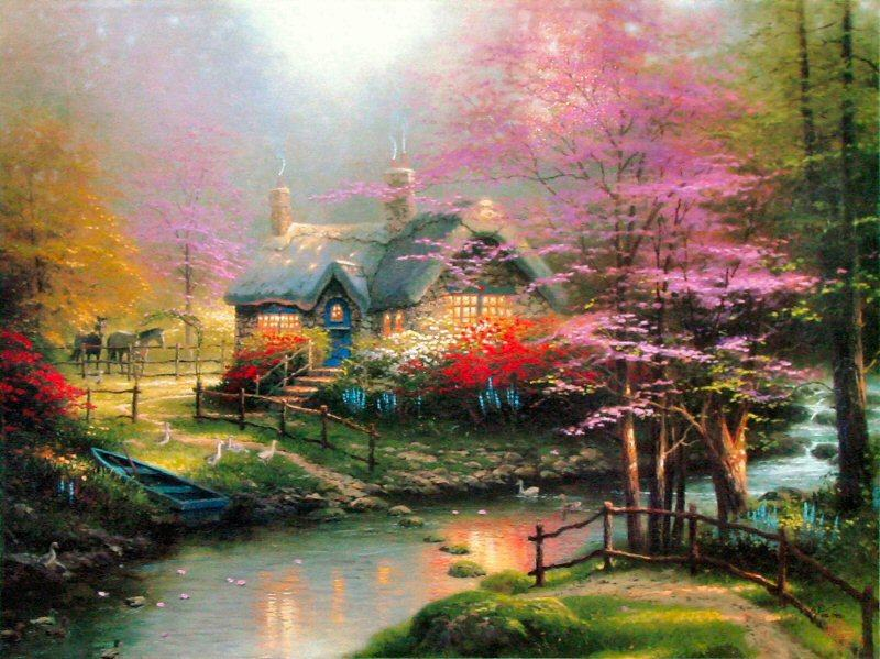 Thomas Kinkade Stepping Stone Cottage